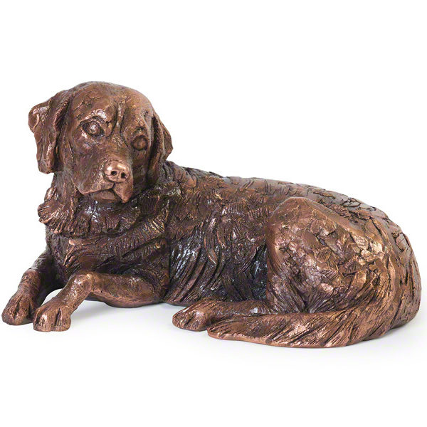 Beautiful figurine Golden Retriever keepsake urns for pet dog ashes. Can be personalised.