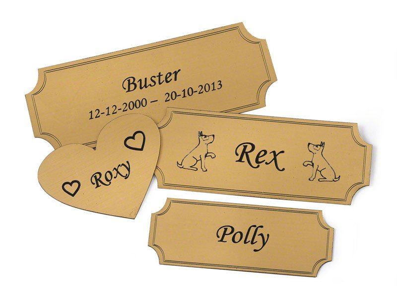 bronze effect self adhesive engraved flexi plaque for personalisation.