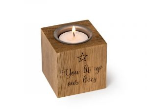 Pet memorial candle. Personalisable pet keepsake candle with discreet hidden container for a small quantity of your pet's ashes. Engrave names, dates, messages, even pawprints! Solid wood. Tealight included.