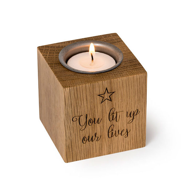 Engravable solid wood ashes keepsake candle. Tactile and beautiful memorial for you to personalise. Holds photo, ashes, lock of hair or small mementos