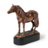 Lovely figurine pony shaped pet ashes keepsake urn for token equine ashes. Design your own optional engraved plaque to personalise.