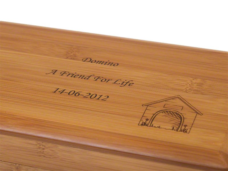 Beautiful bamboo Eden casket ashes urn. Pet urns for dog, cat or horse keepsake and memorials. May be personalised.