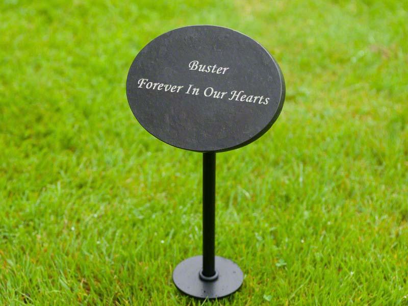 Black slate plaque for highdown urn, pet urn memorial. Underground ashes. Engravable
