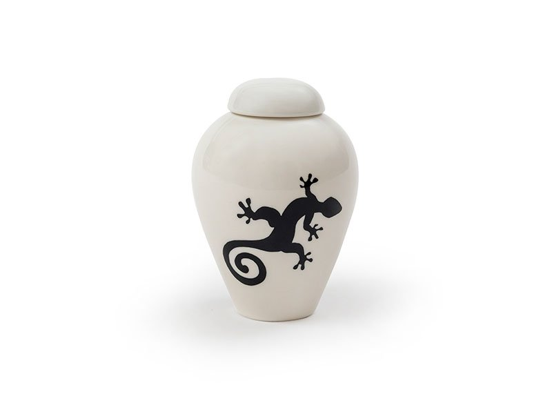 Lovely glazed porcelain serenity ashes urn for small pets, dog, cat, horse. keepsakes and memorials.