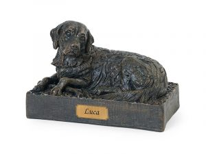 Beautiful figurine Golden Retriever urn for pet dog ashes. Can be personalised.