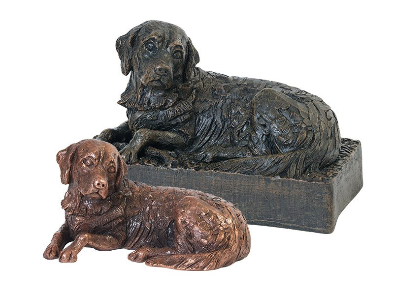 Beautiful figurine Golden Retriever urns and keepsakes for pet dog ashes. Can be personalised.
