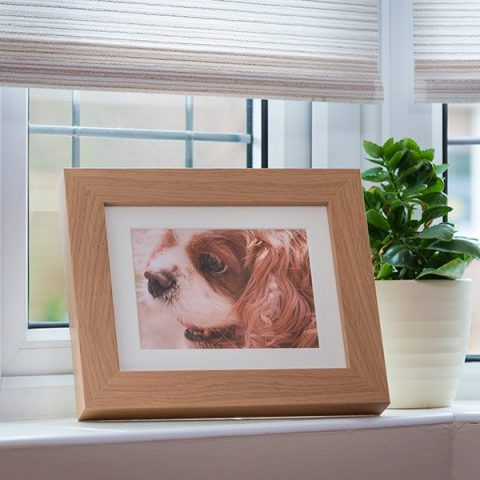 Tribute Frame picture urn. Beautiful discreet oak photo frame urns. Micro 250 cc for pet dog, horse, cat ashes. Can be personalised. Hand made in UK