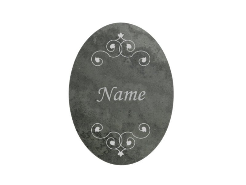 Personalised slate name plaque for pet ashes urn Highdown Urn, pet memorial. Personalise with names and messages with our engraving service. Dark coloured natural stone name plate.
