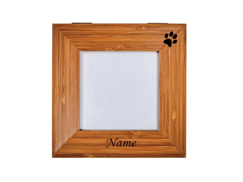 The Tribute Box photo urn can be personalised with engraving of your pet's own paw-print as well as name, dates, messages or motifs.
