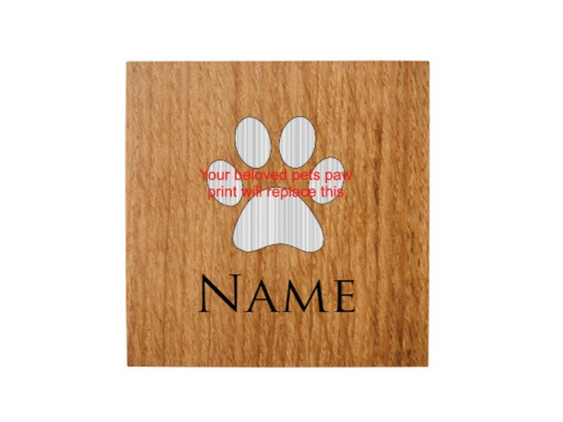 Laser engraved plaques and tags for pet urns, ashes caskets and pet memorials