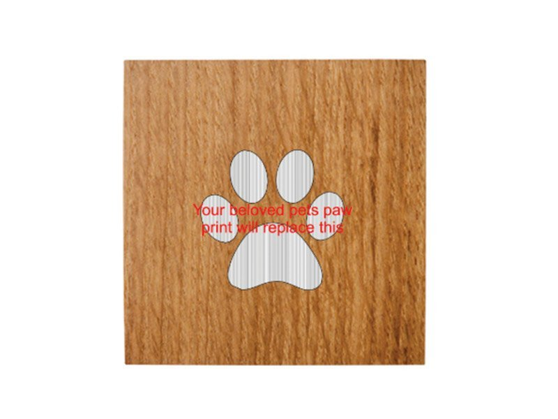 We can engrave your pet's own paw print. Use the paw-print placeholder in the design tool