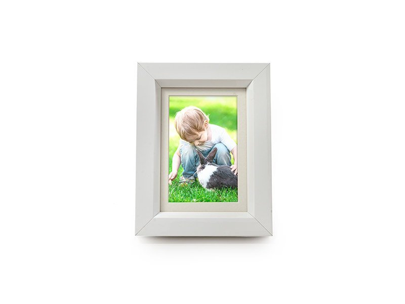 Tribute Frame photo frame ashes urn in White. Discreet ashes casket concealed within solid wood picture frame urn. Handmade in UK. Can display paw-print or photos. Mini 550-950 cc for pet dog, horse, cat ashes. Can be personalised.