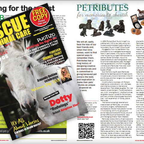 Petributes featured in Rescue and Animal Care magazine
