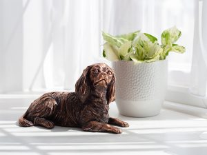 A resin figurine urn sculpted into the shape of a cavalier king Charles spaniel laying down on a cushion. Available in an antique bronze style. A smaller version of the urn is available in a copper plated finish.
