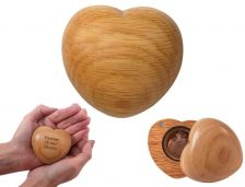 heart-shaped pet keepsake urn. Engravable solid wood keepsake memorial for your pet. Holds photo, ashes, lock of hair or small mementos