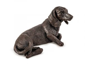 Dachshund Urn - beautiful figurine ashes urn with integrated keepsake for personalisation. Long-haired and Short-haired models cast from exclusive original sculptures in antique bronze style finish.