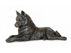 Husky Urn - beautiful figurine ashes urn with integrated keepsake for personalisation. Discreet pet urn cast from exclusive original sculptures in antique bronze style finish.