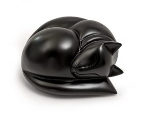 Sleeping cat figurine urn in satin black