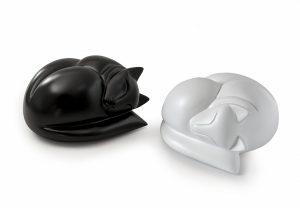 Sleeping cat figurine urns in satin white and black
