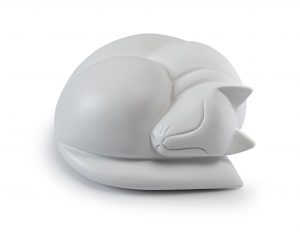 Sleeping cat figurine urn in satin white