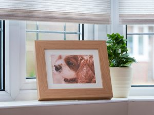 An oak photo frame with a concealed ashes container behind
