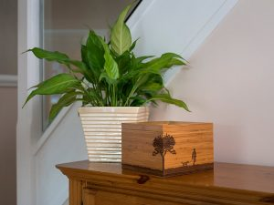 A laminated bamboo box with a magnetic catch for storing ashes or mementos