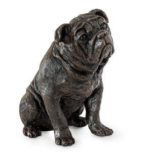 Sitting bulldog figurine urn