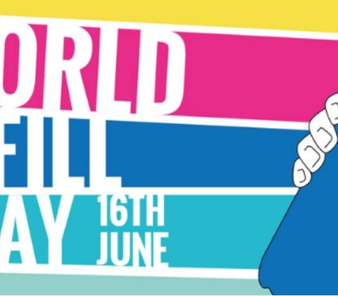 World Refill Day logo - we're a Refill station! Choose to reuse and help stop plastic pollution